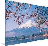 Uitzicht op de Fuji Berg in het Aziatische Japan Canvas 140x90 cm - Foto print op Canvas schilderij (Wanddecoratie woonkamer / slaapkamer)