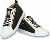 Cash Money Heren Schoenen - Heren Sneaker Bee Black White Gold - CMS98 - Zwart/Wit - Maten: 42