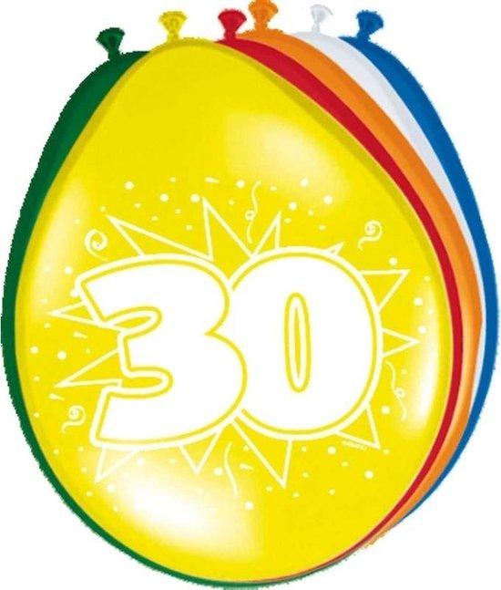 8x stuks Ballonnen versiering 30 jaar thema leeftijd feestartikelen