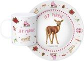 Kinderservies met naam en datum - origineel en persoonlijk kraamcadeau - eetsetje met kunstof bord en beker voor een winter baby - handgeschilderd hert en schattige winterdecoraties in aquarel