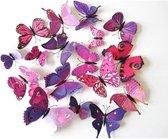3D Vlinders Muursticker / Muurdecoratie Voor Kinderkamer / Babykamer / Slaapkamer - Vlinder Sticker Paars