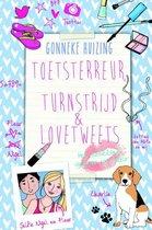 Boek cover Toetsterreur, turnstrijd en lovetweets van Gonneke Huizing