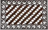 relaxdays deurmat gietijzer borstels, voetmat, voetveger, metaal, welcome antiek E