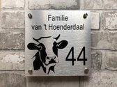 Naambordje voordeur met koeien