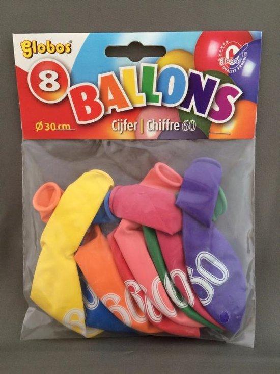 60 jaar ballonnen 8 stuks