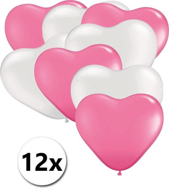 Ballonnen Hart Roze & Wit 12 stuks 26 cm
