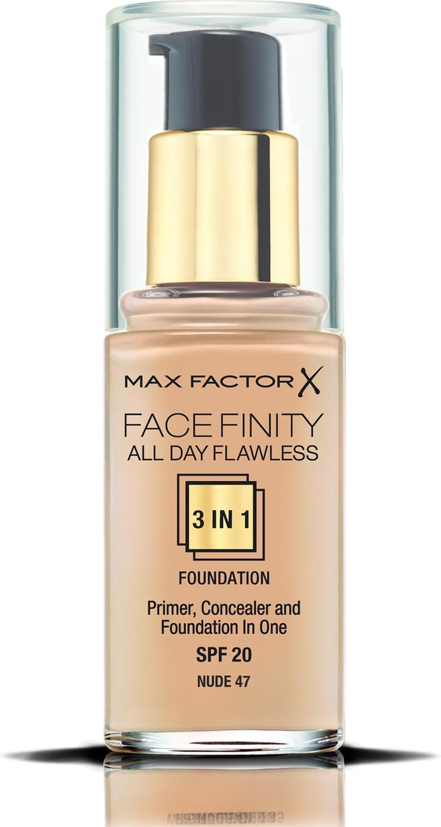 Max Factor Facefinity All Day Flawless 3-in-1 Liquid Foundation - 047 Nude - Max Factor