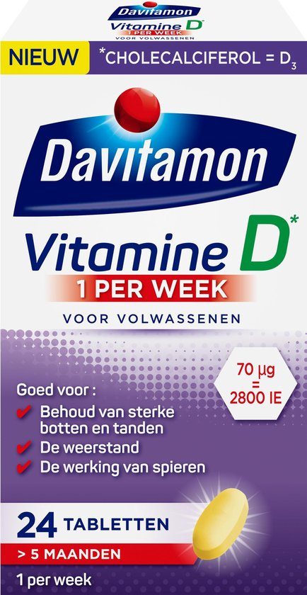 Davitamon Vitamine D 1 Per Week Voedingssupplement - 24 tabletten