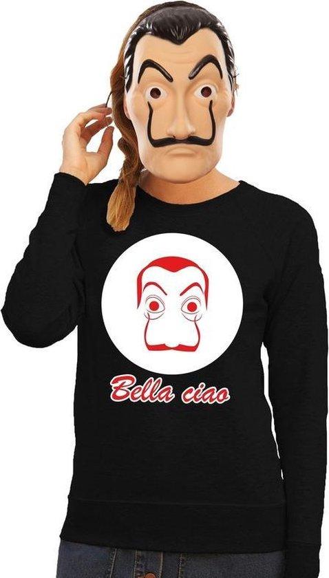 Zwart Salvador Dali sweatshirt maat S - met La Casa de Papel masker voor dames - kostuum