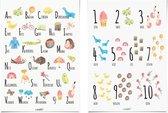 Posterset: Alfabet en Cijfer Poster 30x40 cm - Muurdecoratie - Kinderkamer Decoratie