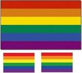 LHBT / Gay regenboog vlag 90 x 150 cm - Inclusief twee gratis regenboog stickers