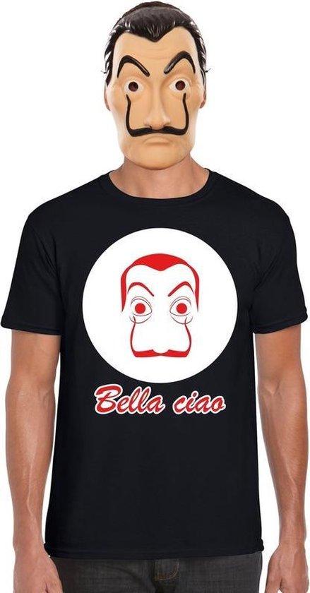 Zwart Salvador Dali t-shirt maat L - met La Casa de Papel masker voor heren - kostuum