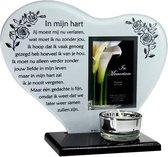 Waxinehouder in memoriam overleden glas hart met gedicht In mijn hart ...