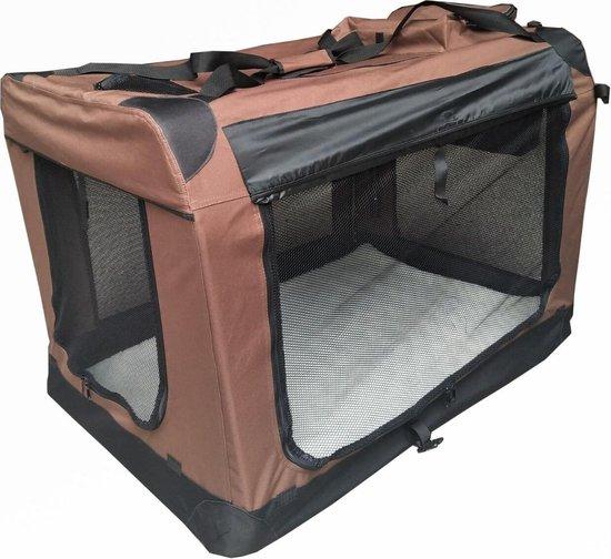 Auto Bench reisBench nylon hondenbench - Bruin 81 x 58 x 58 cm - stoffen bench - vouwbench - softbench - honden 15-25kilo