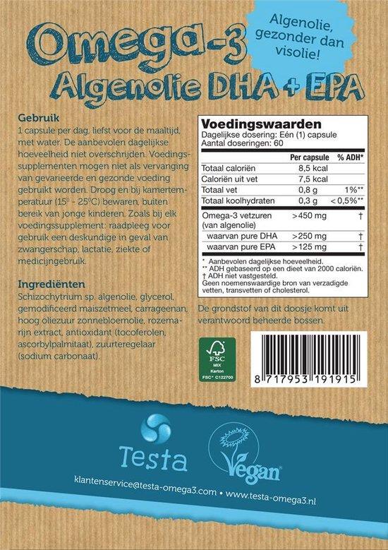 Testa Omega 3 Algenolie. Hoogste concentratie Vegan Omega-3 DHA + EPA. 60 Capsules - Plantaardig Voedingssupplement