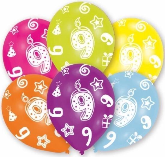 9 jaar leeftijd ballonnen 6 stuks - verjaardag versiering