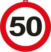 2x 50 Jaar verkeersbord deurbord van 47 cm - leeftijd versieringen vijftig jaar - Abraham/Sarah