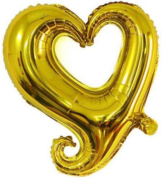 Folieballon Fantasie hart goud 45 cm