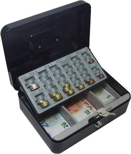 Afbeelding van Zwarte Geldkist met kleingeldlade Metaal 250 x 160 x 90 mm geldkist kluis