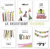 Kimago.nl - wenskaarten - kaartenset - ansichtkaarten - Verjaardag - 6 stuks