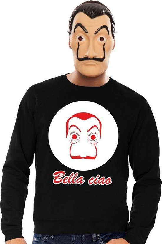 Zwart Salvador Dali sweatshirt maat S - met La Casa de Papel masker voor heren - kostuum