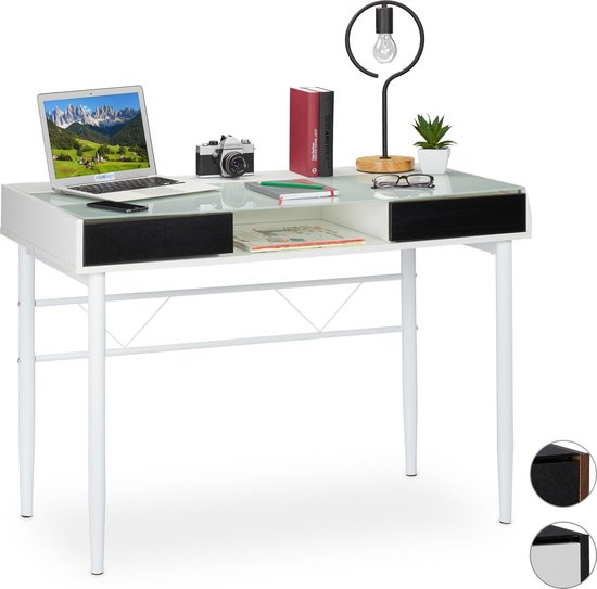 relaxdays bureau glas - computertafel - kabeldoorvoer - laptoptafel - glastafel - lades Wit / wit