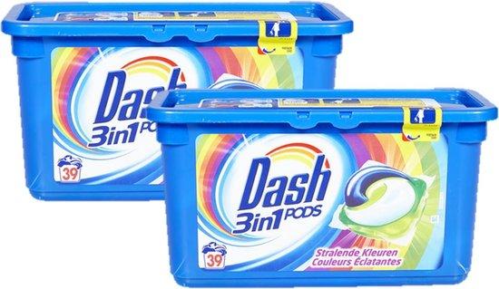Dash Wasmiddel pods 3in1 Stralende Kleuren 78 pods (2x39)