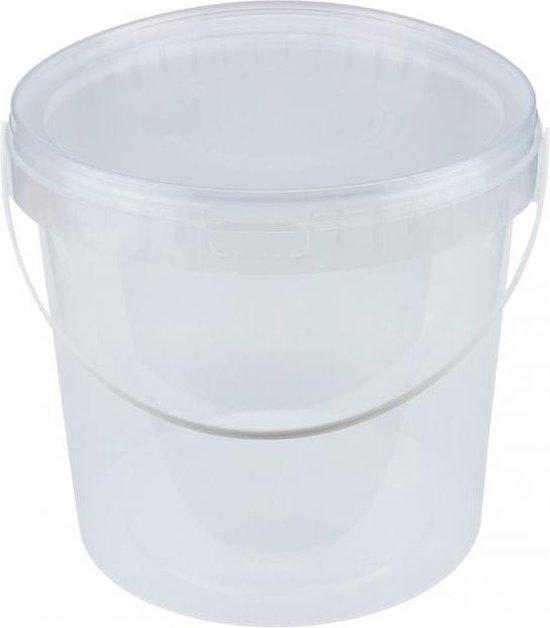 Emmer met deksel / emmers met deksels, wit, 10 liter (6 stuks)