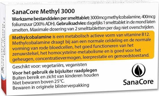 SanaCore Methyl 3000 - Actieve Vitamine B12 - 60 zuigtabletten - Methylcobalamine