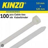 Kinzo Kabelbinders 3.0x120mm wit 100 stuks