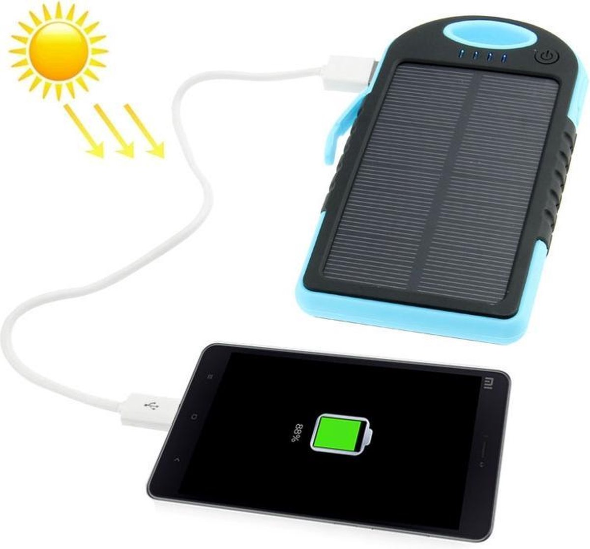 5000mAh spatwaterdicht / schokbestendig / Dropproof Emergency Power Solar Charger voor iPhone / Galaxy / Sony / HTC / LG (groen)