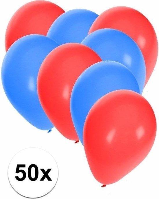 50x ballonnen rood en blauw - knoopballonnen