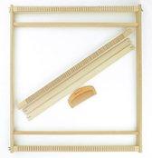 Afbeelding van Restyle weefraam 56 x 54 cm - Houten weefgetouw inclusief 2 steeklatten en weefkam. Groot weefgetouw voor wandkleden of kussens maken