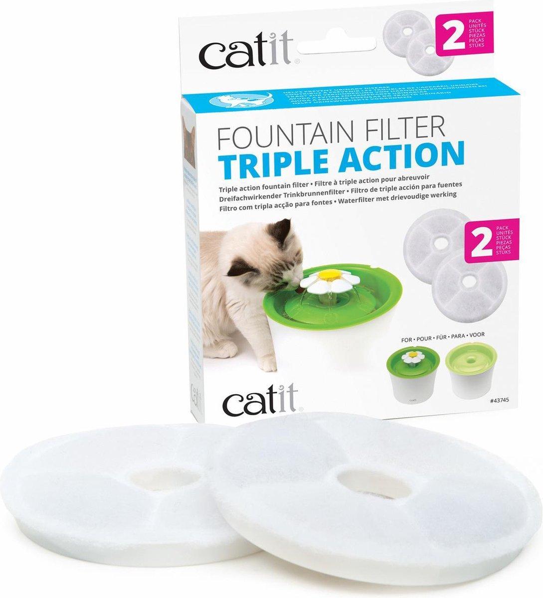Catit Filters Triple Action 2 Pack - Kanttendrinkbak - 4 x 14.5 x 17.5 cm Wit - Catit