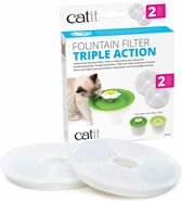 Catit Filters Triple Action 2 Pack - Kanttendrinkbak - 4 x 14.5 x 17.5 cm Wit