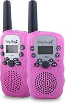 Wonky Monkey - Walkie Talkie  - 3 km bereik - 10 oproeptonen - Volume regelaar - Lamp - Batterij niveau indicatie – Roze