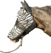 Vliegenmasker Zebra met neusnetje wit/zwart maat Cob