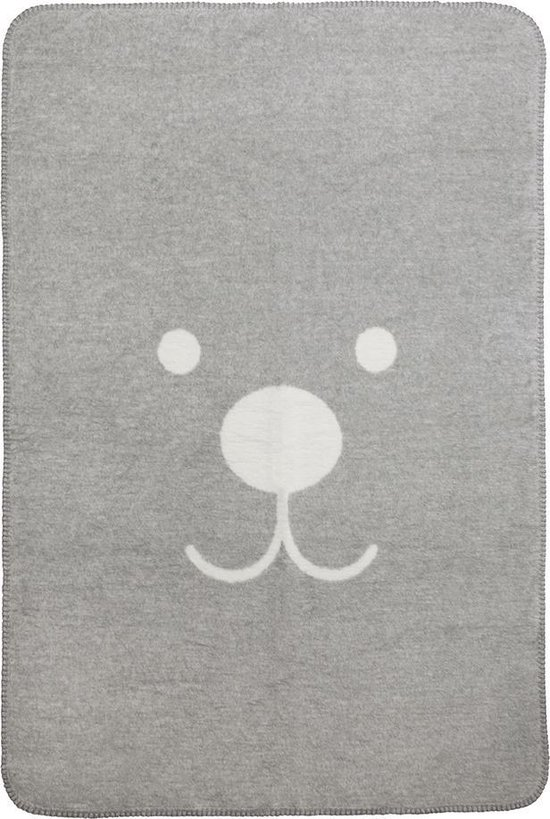 Meyco Animal wiegdeken - 75 x 100 cm - ecru/grijs