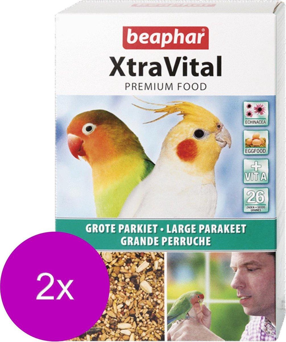 Beaphar Xtra Vital grote Parkiet - 2 St à 1 kg - Vogelvoer