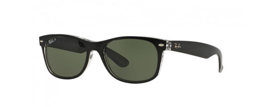 Ray-Ban RB2132 605258 - zonnebril - New Wayfarer (Color Mix) - Top Black On Transparent/Green - Polarized - 55mm