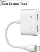 Audio Splitter Adapter (2 in 1) voor iPhone - Opladen & Audio Beluisteren - Dubbele Lightning Splitter - Mini dubbele poorten voor hoofdtelefoon en audio - iPhone Compatibel - Wit