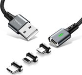 DrPhone iCON Series - 3 in 1 Gecertificeerde Qualcomm 3.0 Support - Snellader - Magnetische Oplaadkabel + Datakabel - Apple Lightning / USB-C / Micro USB Magneet Oplader 3.0A Fast Charge Output - Reversible Kabel - Sterkste Magneet - Eclipse Zwart