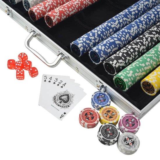 Thumbnail van een extra afbeelding van het spel 1 x Pokerset met Koffer 1000 Chips - Poker chips set - Pokerset Alumunium Koffer