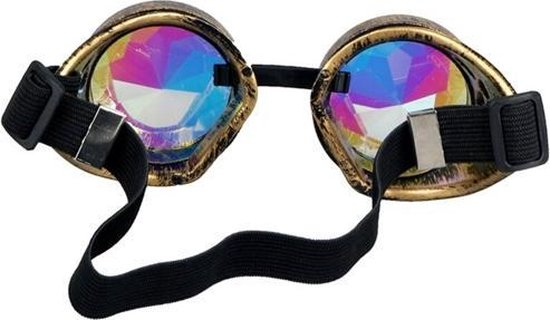 Caleidoscoop bril goggles Steampunk - brons - spacebril rave festival