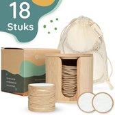 Ecotivity® 18 Herbruikbare & Wasbare Bamboe Wattenschijfjes – Zero Waste Make Up Pads – Zoogcompressen – Inclusief houder