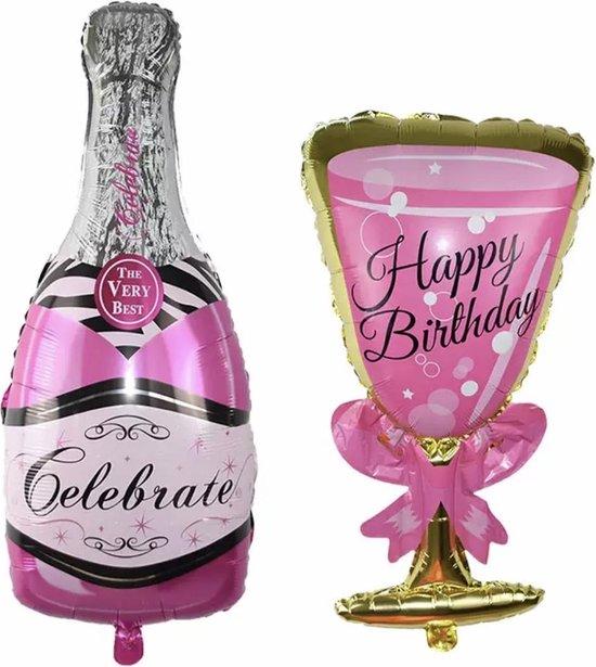Folieballon Champagne met glas -groot formaat -Helium