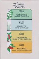 PACK: Captain Happy Hour - Chives, Spearmint, Mini Bellpeppers, Mini Tomatoes - compatible met een Prêt à Pousser
