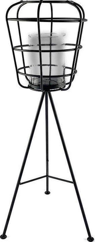 Industriële buiten windlicht van WDMT™ | 22 x 22 x 55 cm | Gemaakt van metaal en voorzien van glazen kaarsenhouder | Extra grote lantaarn | Mat zwart metaal | Windlicht