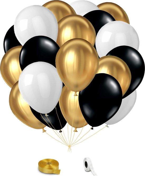 Goud, Zwart & Wit Helium Ballonnen met Lint - 24 stuks - Verjaardag Versiering - Decoratie