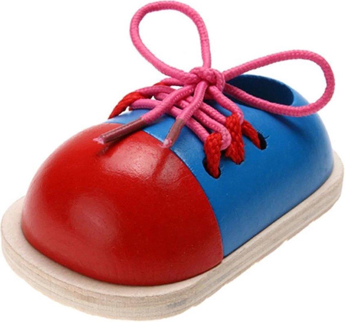 Montessori speelgoed Veterstrikken - Oefenschoen - Veters leren strikken - Educatief - Zelf leren - Houten schoen